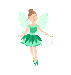 cute girl fairy with magic wand happy adorable vector image
