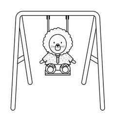 Cute lion in swing character vector