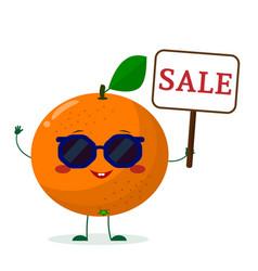 cute orange cartoon character in sunglasses keeps vector image