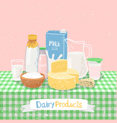 dairy products on table vector image