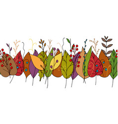 Doodle border with colorful autumn leaves vector