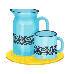 Earthenware pitcher and mug standing on board vector