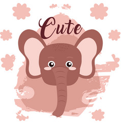 Elephant cute animal cartoon vector