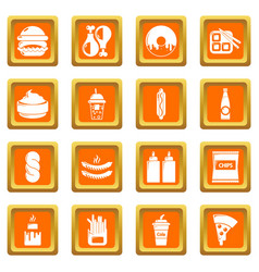 fast food icons set orange square vector image