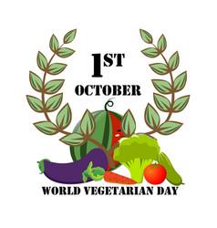 festive emblem with vegetables on world vegetarian vector image