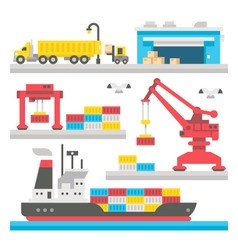 Flat design cargo port equipment vector