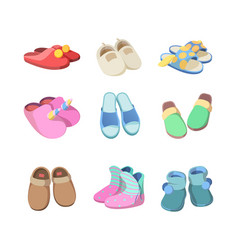 Footwear colored textile soft slippers hotel room vector