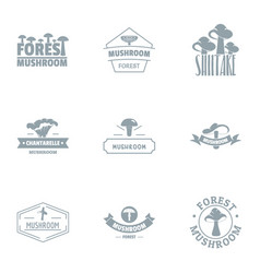 Forest stand logo set simple style vector