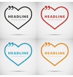 Four colored hearts on a white background vector image
