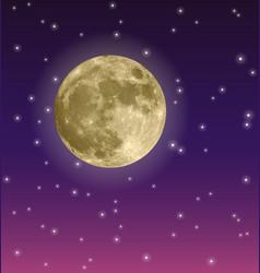 Full moon in purple night sky with stars vector