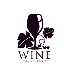 Glass wine decorated with grapevine icon vector