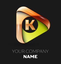 golden letter k logo in golden-green triangle vector image