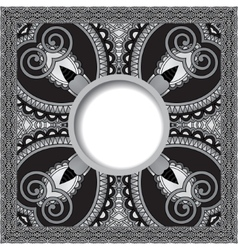 Grey floral round pattern in ukrainian oriental vector