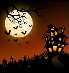 halloween night background with creepy castle and vector image