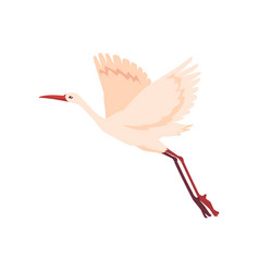 hand drawn white crane bird takes off vector image