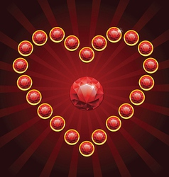 Heart shape made from red diamonds vector