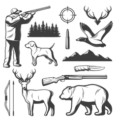 Hunting Vintage Elements Set vector image