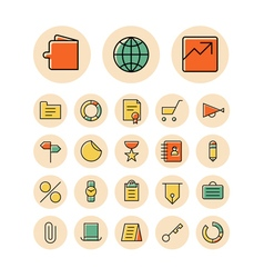 Icons thin red business finance money vector