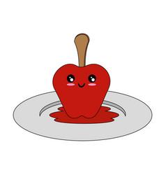 Isolated caramel apple vector