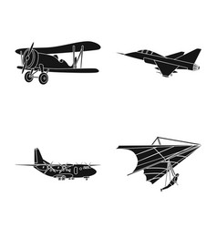 Isolated object of plane and transport symbol set vector