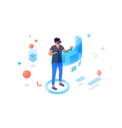 Isometric 3d man with helmet and controllers vector