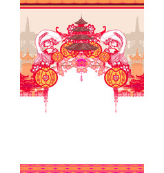 Japanese koi and ancient building - decorative vector