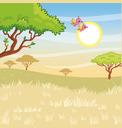 landscape with sunny savanna vector image