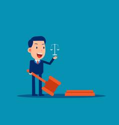 Lawyer holding judge gavel legislation concept vector