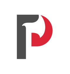 Letter p axe logo template lumberjack icon design vector