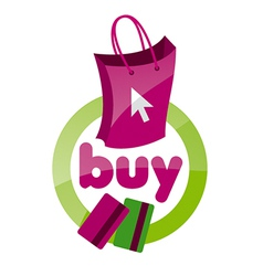 Logo shopping bag basket vector
