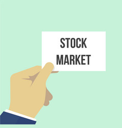 Man showing paper stock market text vector