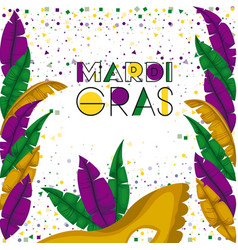 Mardi gras colorful background with confetti and vector