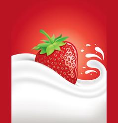 milk splash with fresh strawberry vector image