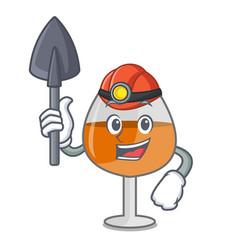 Miner cognac ballon glass mascot cartoon vector
