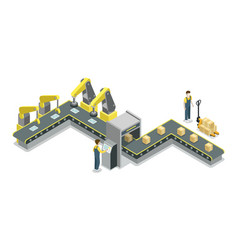 Modern belt production line isometric 3d icon vector