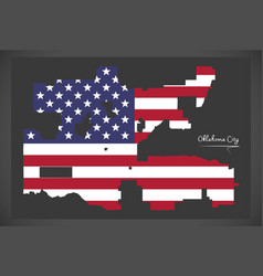 Oklahoma city map with american national flag vector