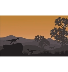 On the hills silhouette of eoraptor vector image