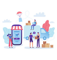 Online store delivery web shop retail purchase vector