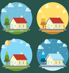 pack flat design four seasons vector image
