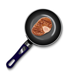 Pan with raw meat top view vector
