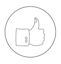 Patriotic thumb up icon in outline style isolated vector