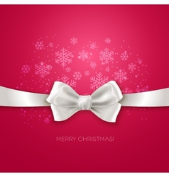 Pink Christmas background ribbon with white silk vector image