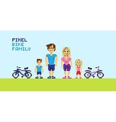 Pixel bike family vector