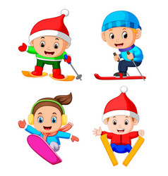 professional children playing the ice skating vector image