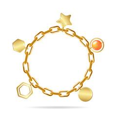 Realistic detailed 3d gold chain bracelet vector