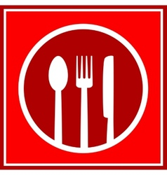 Red restaurant sign with utensil vector