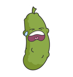 sad crying dill pickle cartoon vector image