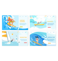 Sailing surfing kayaking water sport banners set vector