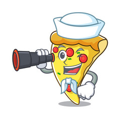 Sailor with binocular pizza slice mascot cartoon vector
