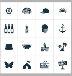 season icons set with tent anchor jellyfish and vector image